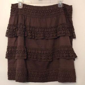 ETCETERA   Boho Skirt   Crocheted Layers